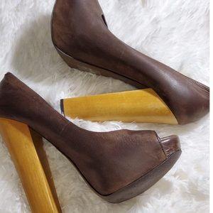 ALDO Brown Leather Platform Peep Toe